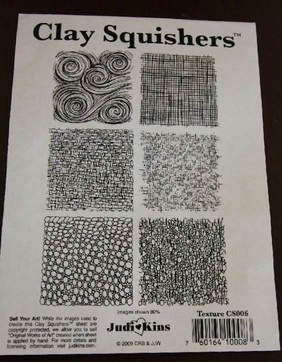 Clay Squishers #6, rubber stamp titled textures
