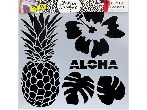 "Aloha 6 x 6"" Stencil designs like pineapple, tropical leaves, hibiscus perfect for mixed media, scrapbooking, journaling and more"