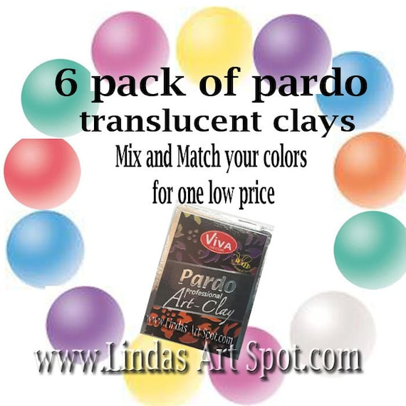 mix N match your own 6 pack Pardo Professional Translucent Art Clay by viva decor you choose your colors