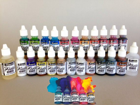 NEW 29 piece Jacquard Pinata Alcohol Ink get the full 29 pcs, including all 5 just released alcohol based high vibrancy transparent colors.