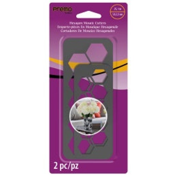 "Sculpeys Premo new 2pc 3/4"", 1""  Hexagon mosaic cutters plastic cutter for use with polymer clay, fondant, decorating, and more"