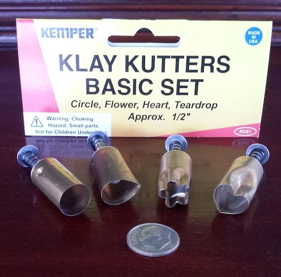 """Plunge style cutters by Kemper Klay Kutters 1/2""""  1 each: circle, flower, teardrop, & heart"""
