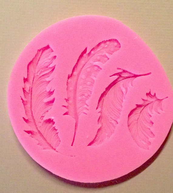 4 fancy feathers 3D food safe silicon push mold for fondant, cake decorating, and polymer clay