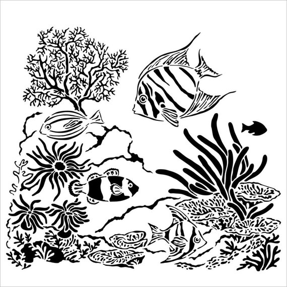 """Aquarium, fish and sea life 6 x 6"""" Stencil /  template design perfect for mixed media, scrapbooking, journaling and so much more"""