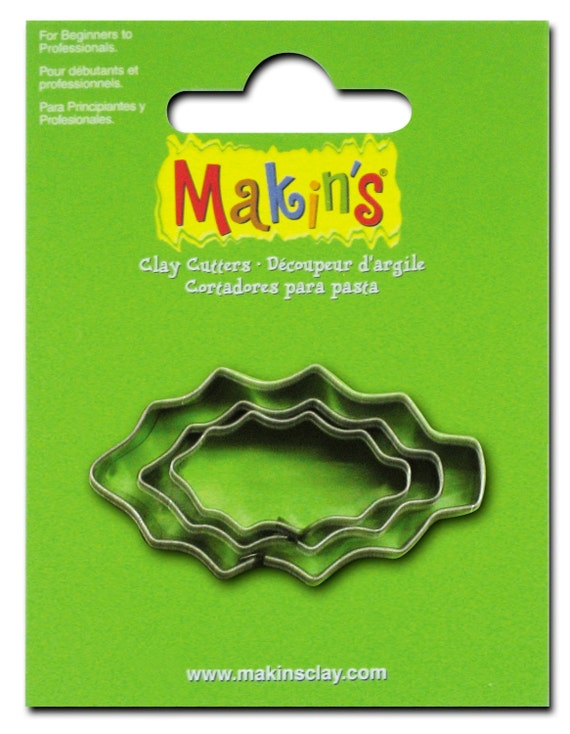 "3 piece holly cookie cutter set with sizes from 7/8"" to 1-3/4"" tall"