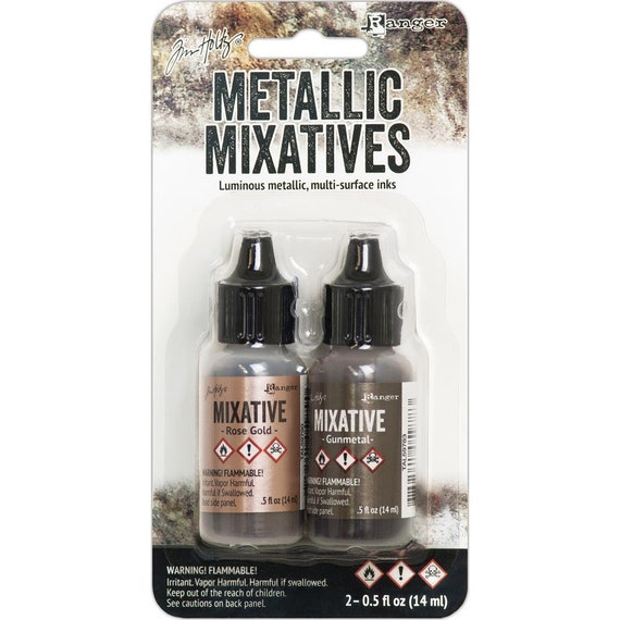 New Metalic Mixative colors for 2018 Ranger Alcohol Ink / Adirondack Gunmetal and Rose Gold Mixative