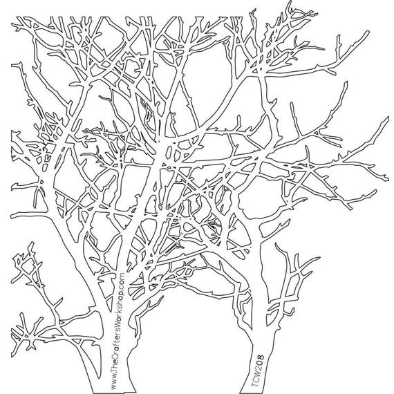 "Tree branches 6 x 6"" Stencil /  template a Jaime Echt design perfect for mixed media, scrapbooking, journaling and so much more"