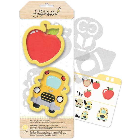 7 pc Back to School cookie cutters set includes an apple for the teacher and a school bus cutters, templates, and instruction card