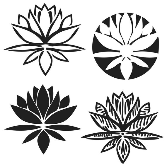 """4 lovey Lotus Blossom 6 x 6 """" stencil by Julie Fie-Fan Balzer design perfect for mixed media, scrapbooking, journaling and so much more"""