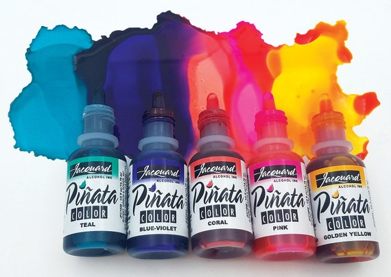 5 NEW Colors Jacquard Pinata Alcohol Ink get the full set of 5 new colors of alcohol based inks high vibrancy transparent colors.
