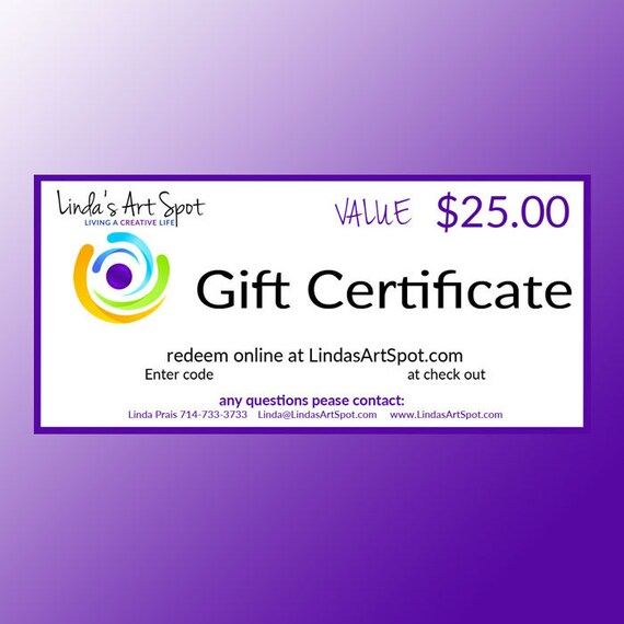 Holiday or Birthday Gift Certificate to Linda's Art spot the perfect gift for the polymer clay artisit or crafter in your life.