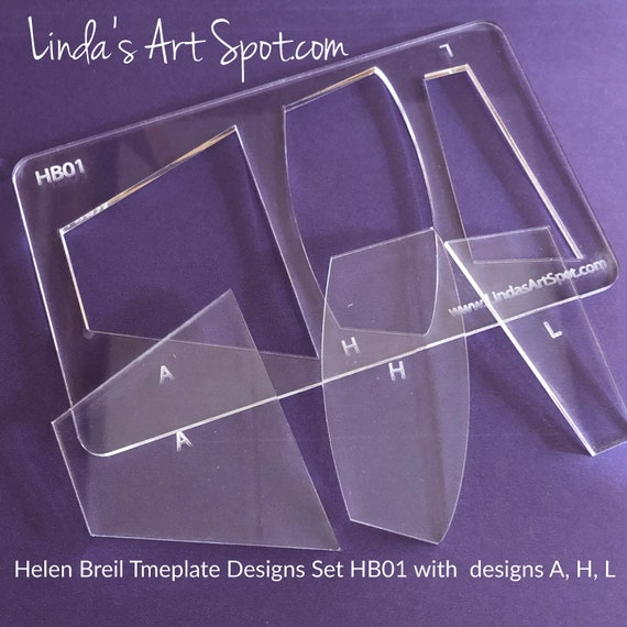 Helen Breil jewelry shape templates, make beautiful polymer clay jewelry and  pendants, 4 piece clear set features Helen's Shapes A, H, L