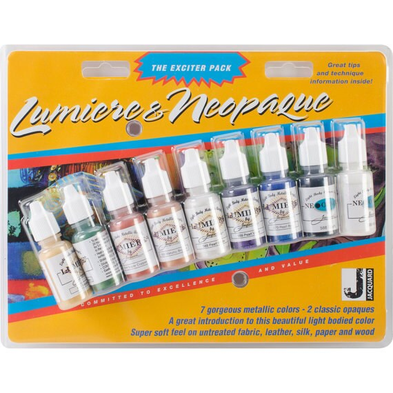 Jacquard Lumiere/Neopaque Exciter Pack 9/Pkg squeeze bottles acrylic paint perfect for controlled application like silkscreening on polymer