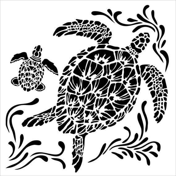 "Sea Turtle 12 x 12"" Stencil /  template design perfect for mixed media, scrapbooking, journaling and so much more"