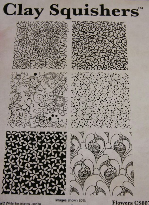 Clay Squishers #7, rubber stamp titled Flowers