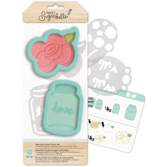 Sweet Sugarbelle 7 pc country rose cookie cutters set includes, templates, and instruction card perfect for a country wedding / summer party