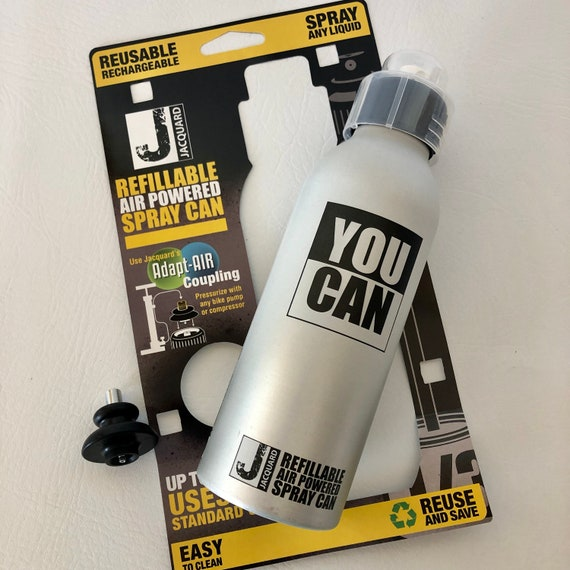 YouCAN refillable air powered spray can that looks and feels just like a regular aerosol can by Jacquard. Spray ANY liquid, reusable PYM Ii