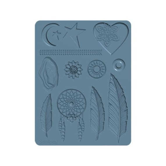 Sculpeys NEW Boho chic Bakeable silicone molds 13 shapes include: Feathers, Heart, Agate, Dream Catcher, Moon, Stars, Arrow Border, & more