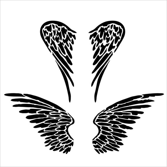 "Angel Wings will help you fly 6 x 6"" Stencil /  template design perfect for mixed media, scrapbooking, journaling and so much more"