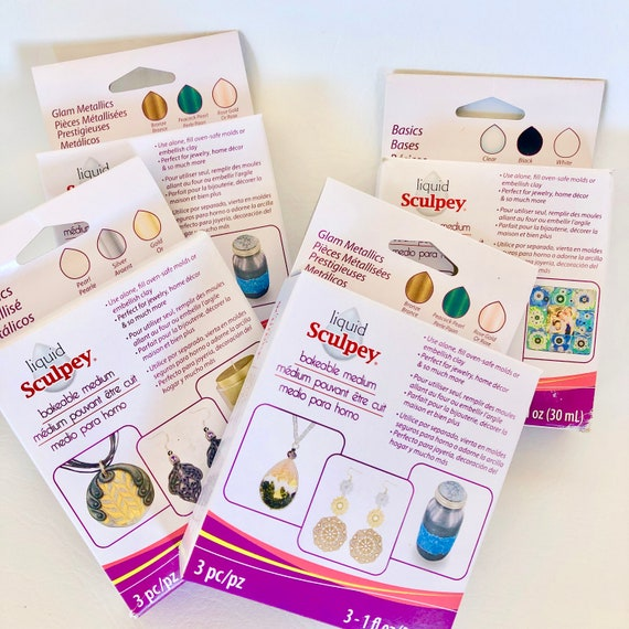 Sculpey 3 piece liquid polymer clay starter sets,  choose from 1 of 4  color sets like Primary, Basic, Metallics, or Glam Metallics