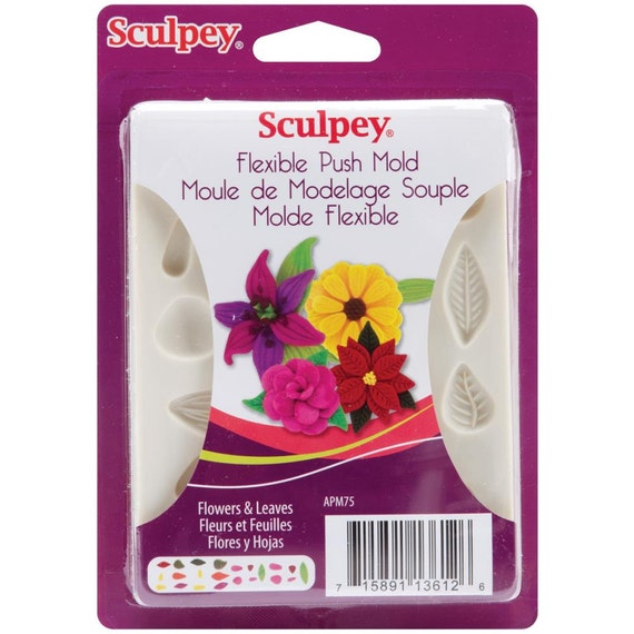flowers & leaves push mold by sculpey includes