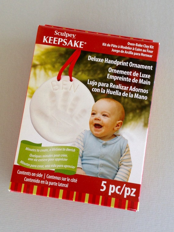 Make your very own baby, or childs custom handprint or pet paw ornament keepsake kit by sculpey polyform.