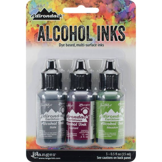 Ranger Alcohol Ink / Adirondack Earthtones , Cottage Path includes 1 each,Slate/Currant/Meadow