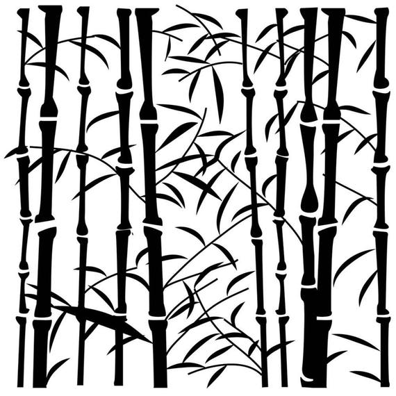 "Bamboo 6 x 6"" Stencil /  template design perfect for mixed media, scrapbooking, journaling and so much more"