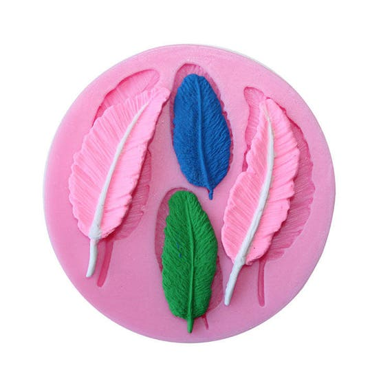 2 x 2 fallen bird feathers 3D food safe silicon push mold for fondant, cake decorating, and polymer clay
