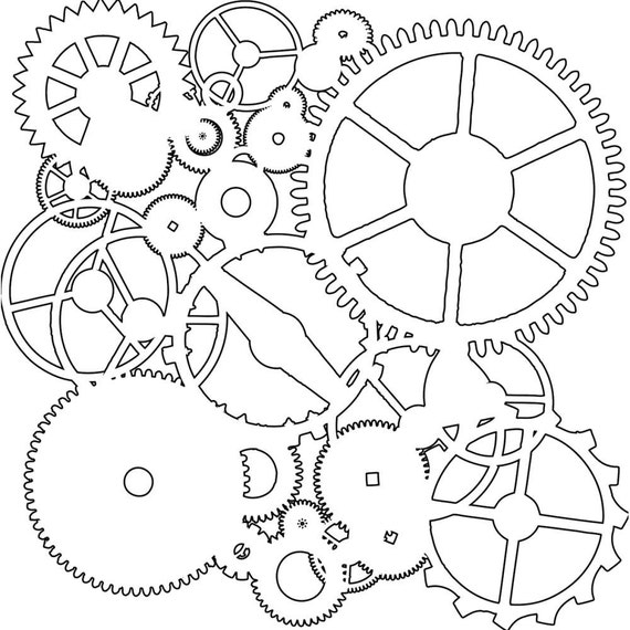 "Gears 12 x12"" Stencil /  template design perfect for mixed media, scrapbooking, journaling and so much more"