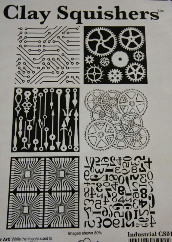 Clay Squishers #15, rubber stamp titled Industrial