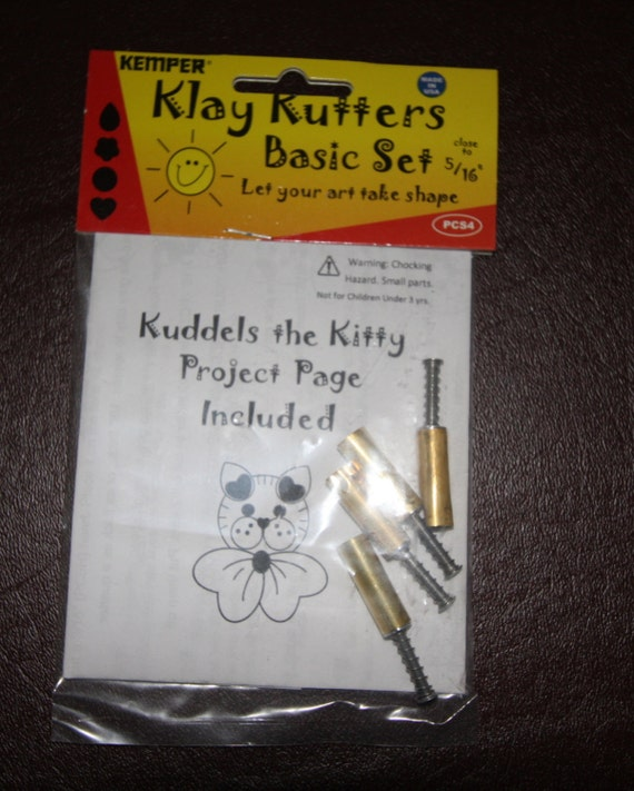 Plunge style tiny cutters by Kemper Klay Kutters 5/16 - 1 each: circle, flower, teardrop, & heart