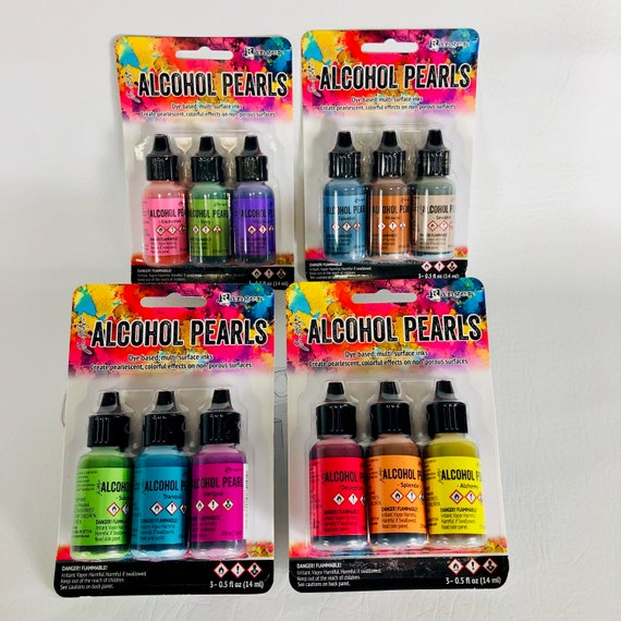 Full collection of the ALL NEW Tim Holtz Alcohol Pearls Ink Get all 4 KITS of 12 pearl colors