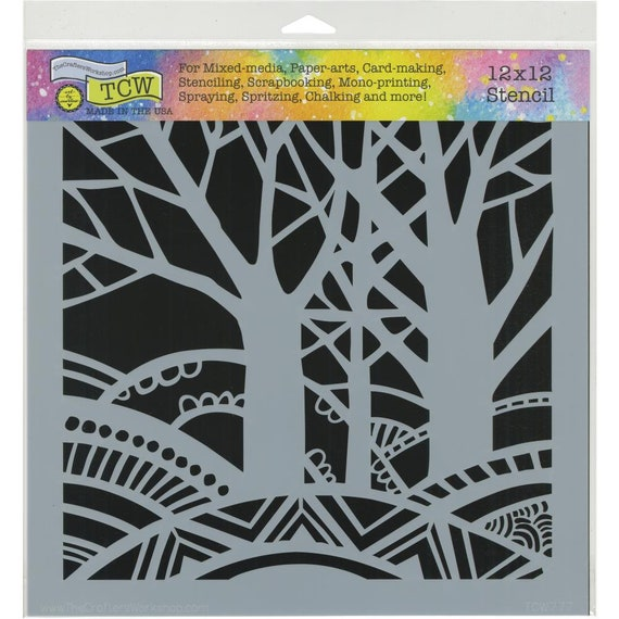 "Tree Paradise 12 x12"" Stencil /  template design perfect for mixed media, scrapbooking, journaling and so much more"