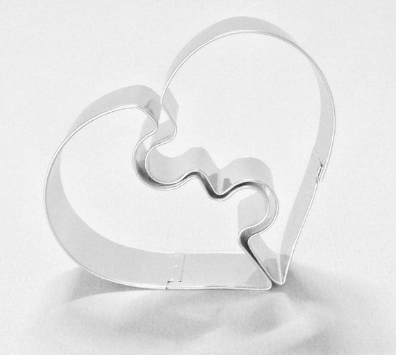 "2 piece split / shared heart cookie cutter set stands about 3"" tall x 3 1/2"" share with your true love on valentines and special days"