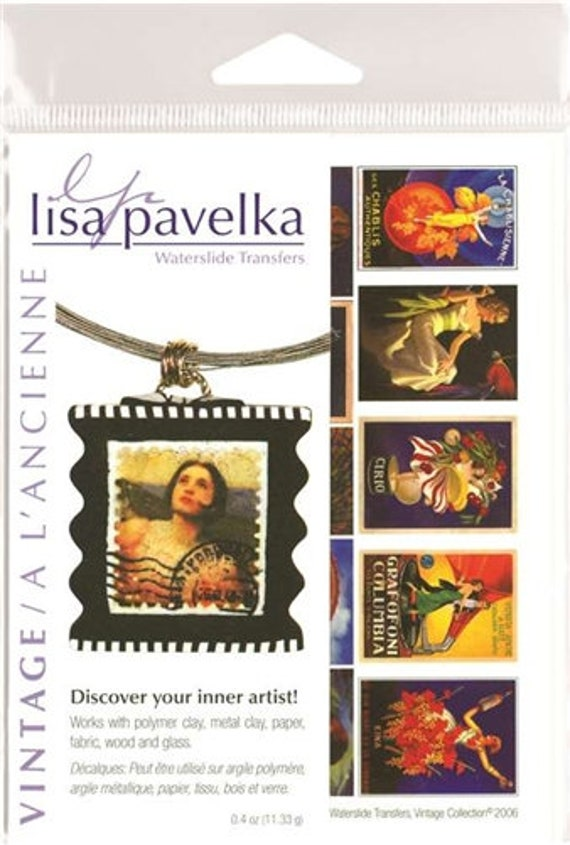 Lisa Pavelka Vintage Waterslide transfers includes designs like  for use on polymer clay, wood, glass