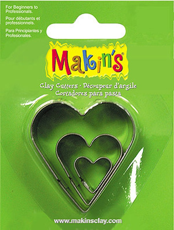 """3 piece heart cookie cutter set with sizes from 7/8"""" to 1-3/4"""" tall"""