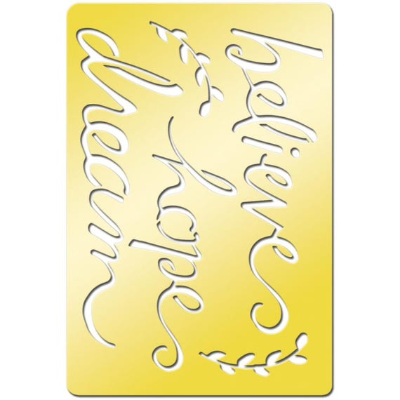 "Words of hope like Believe, hope, dream on this beautiful brass metal stencil / template  3.8""X2.6"" perfect for your  art projects"