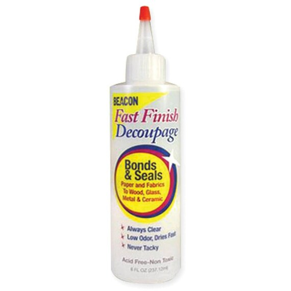 Beacon Fast Finish Decoupage bonds & seals paper, fabrics to wood, Glass, Metal and Ceramic