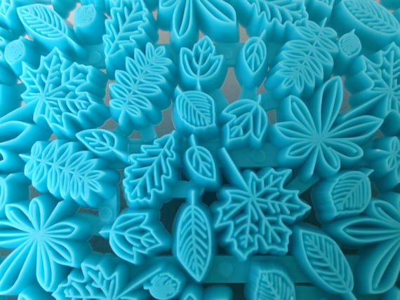 Fallen leaves, Plastic imprint stamp texture is for polymer clay, Mokume stamp, cookies, fondant cake decorating