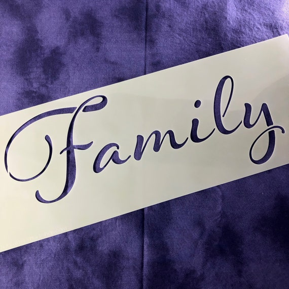 "FAMILY - Reuseable Rustic decor stencil 16 1/2"" x 6"" Create the perfect lettering for home decor, Mixed-Media, Rustic Signs, Collages"