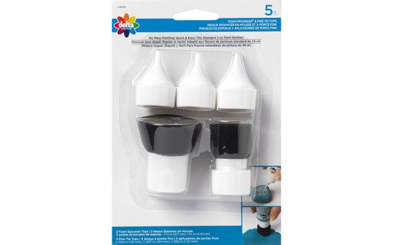 Set of 5 paint bottle specialty tops, turn ordinary 2 ounce paint bottles into fine tip squeeze bottles and foam applicator top spouncer.