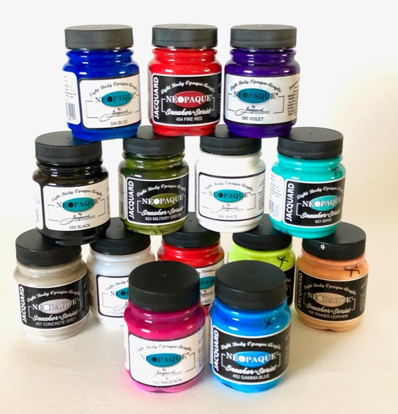 Jacquard Neopaque high quality light-bodied super opaque paints work on fabrics, leather,  polymer clay, paper, wood, and other surfaces