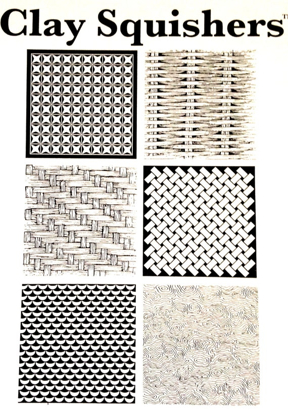 Clay Squishers #5, rubber stamp titled Pattern if you love patterns like basket weaves, woven fabric you'll love this stamp