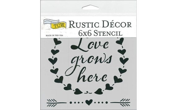 "Love Grows Here - Reuseable Rustic decor stencil 6"" x 6"" Create the perfect lettering for home decor, Mixed-Media, Rustic Signs, Collages"