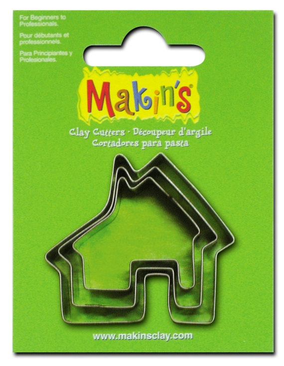 "3 piece house cookie cutter set with sizes from 7/8"" to 1-3/4"" tall"