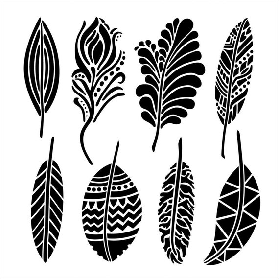 "Fancy feathers, 6 x 6"" Stencil /  template a Dina Wakley design perfect for mixed media, scrapbooking, journaling and so much more"