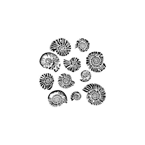 """Nautilus 6 x 6"""" Stencil /  template a Charment Medin design perfect for mixed media, scrapbooking, journaling and so much more"""