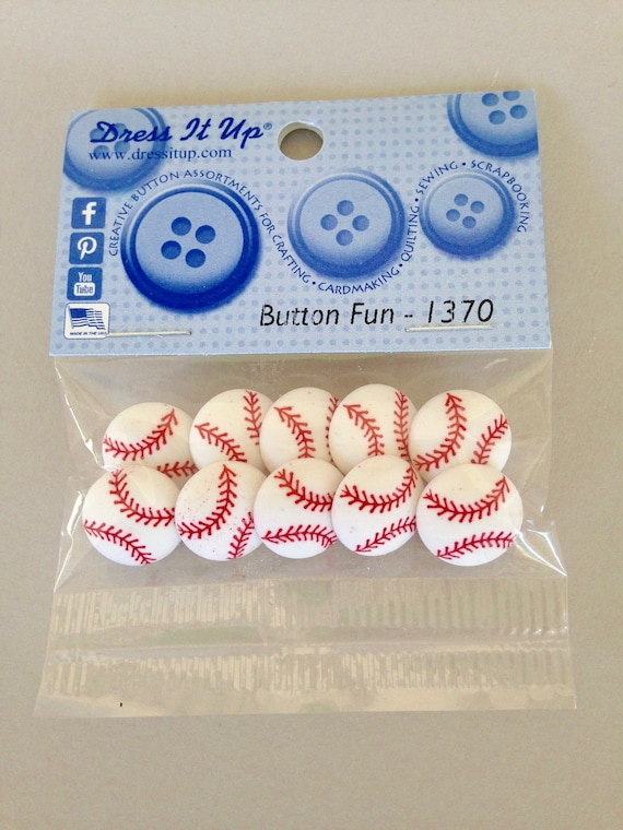 10 pice Baseball buttons and embellishments for scrapbooking, sewing, hair bows, and other crafts