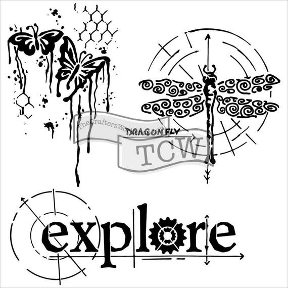"Winged Exploration, 6 x 6"" Stencil  template of dragonfly, butterfly, explore designs perfect for mixed media, journaling and more"